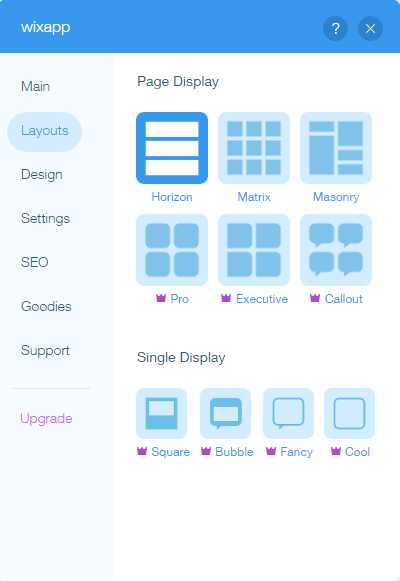 Layout options for Testimonial Builder for Wix