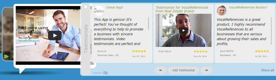 Example of Flyout Testimonial Display widget