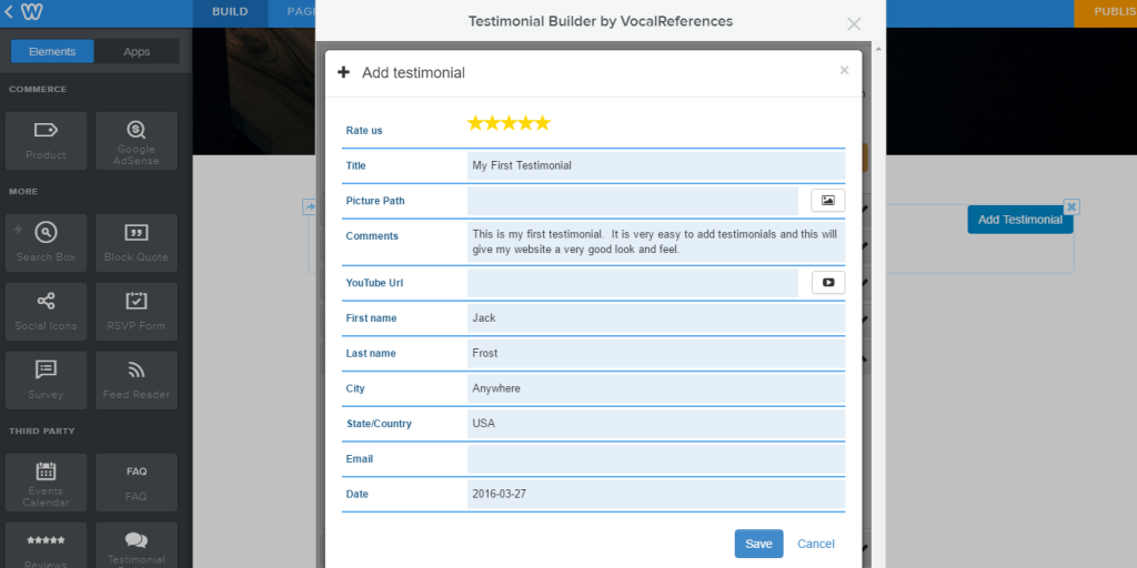 Add Testimonial in Testimonial Builder for Weebly
