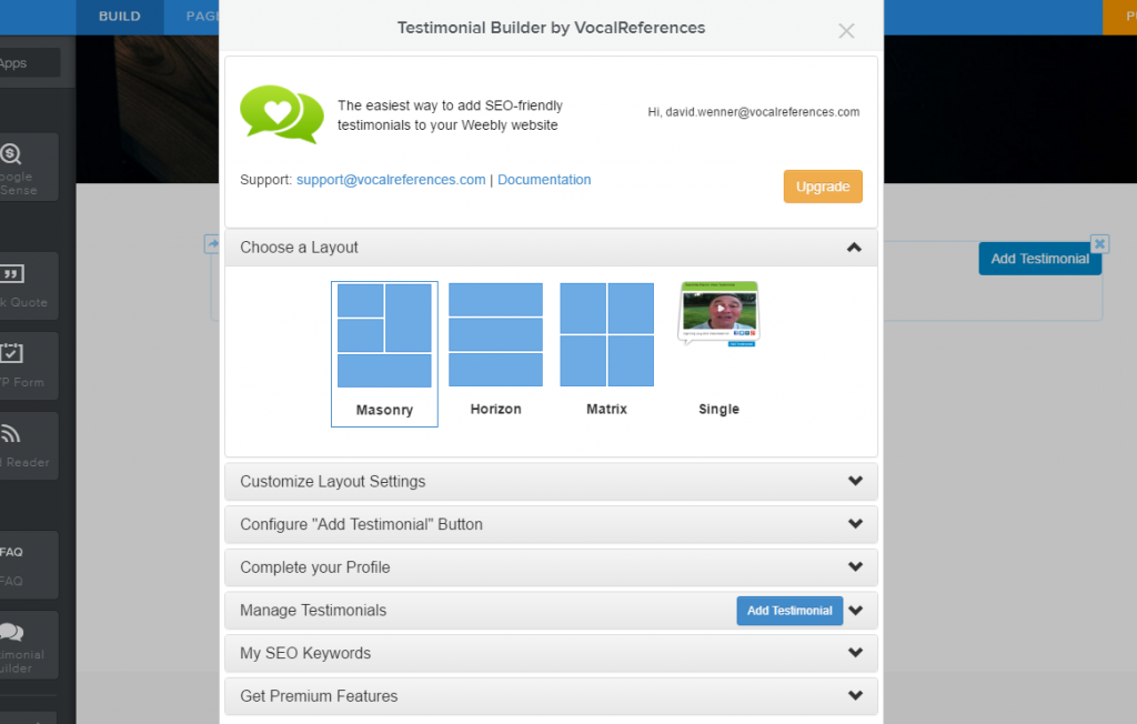 Testimonial Settings page in Weebly