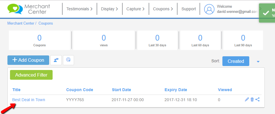 List of Coupons
