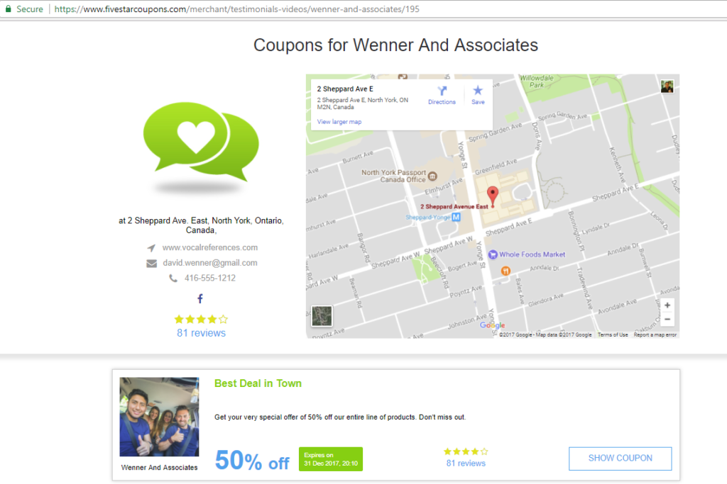 Coupon Showcase Page