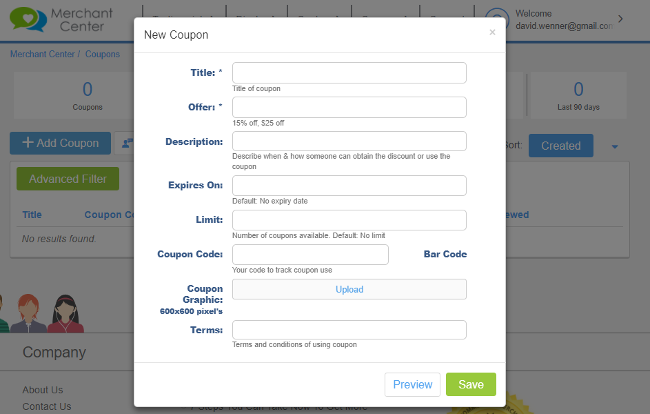 Create a new coupon form