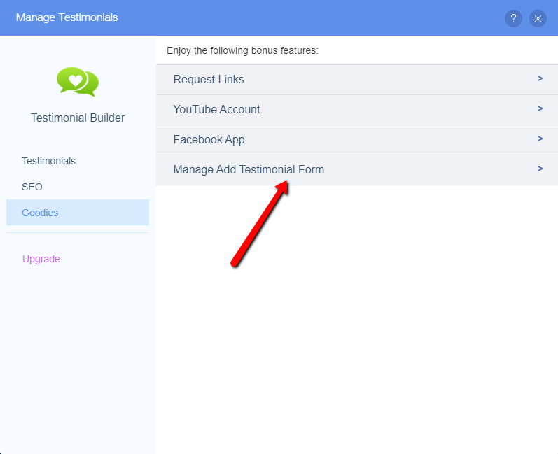 Manage Add Testimonial Form Option