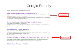 SERP for testimonials and Coupons