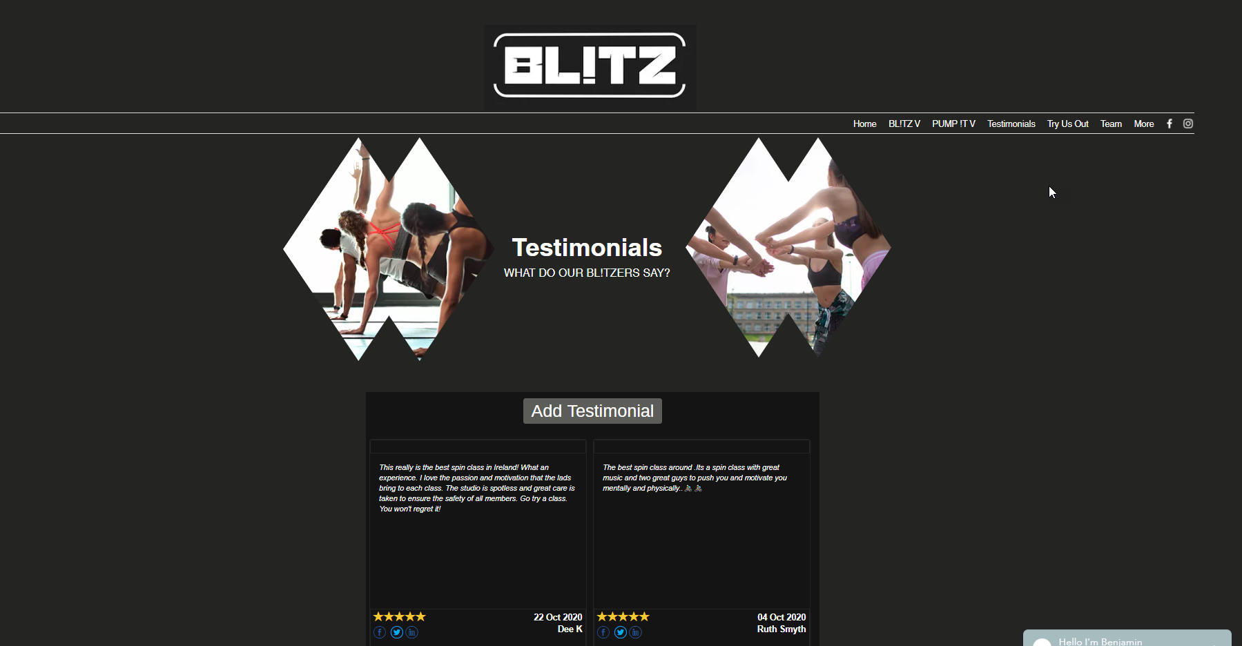 Testimonial Page from Blitz Fitness